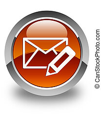 Edit email icon glossy brown round button