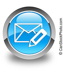 Edit email icon glossy cyan blue round button