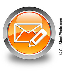 Edit email icon glossy orange round button