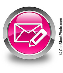 Edit email icon glossy pink round button