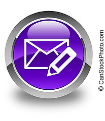Edit email icon glossy purple round button