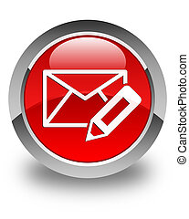 Edit email icon glossy red round button