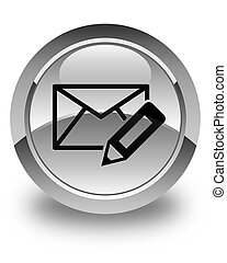 Edit email icon glossy white round button