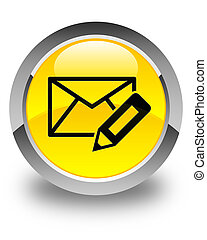 Edit email icon glossy yellow round button