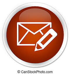 Edit email icon premium brown round button