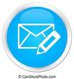 Edit email icon premium cyan blue round button