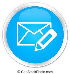 Edit email icon premium cyan blue round button