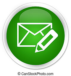 Edit email icon premium green round button