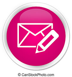 Edit email icon premium pink round button