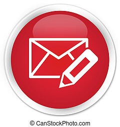 Edit email icon premium red round button