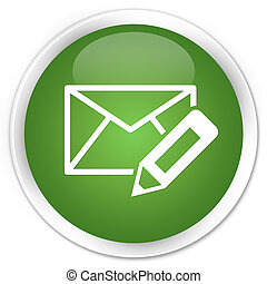 Edit email icon premium soft green round button