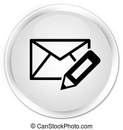Edit email icon premium white round button
