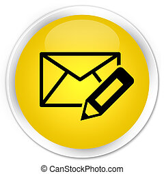 Edit email icon premium yellow round button