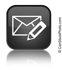 Edit email icon special black square button