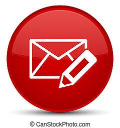 Edit email icon special red round button