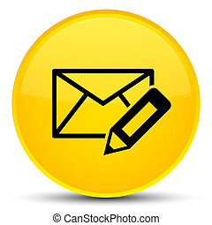 Edit email icon special yellow round button