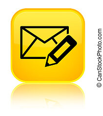 Edit email icon special yellow square button