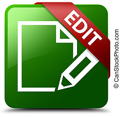 Edit green square button red ribbon in corner
