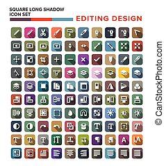 edit icons set in flat design with long shadow