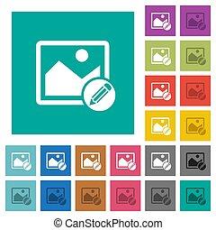 Edit image square flat multi colored icons