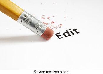 closeup of a pencil eraser and Edit text