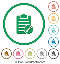 Edit note flat icons with outlines