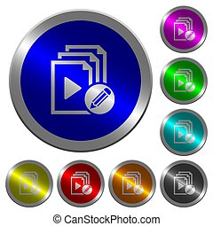 Edit playlist luminous coin-like round color buttons