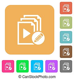 Edit playlist rounded square flat icons