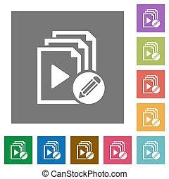 Edit playlist square flat icons