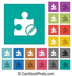 Edit plugin square flat multi colored icons