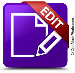 Edit purple square button red ribbon in corner