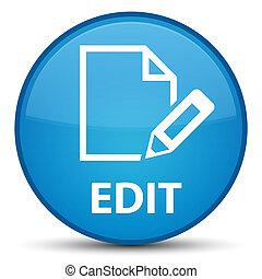 Edit special cyan blue round button