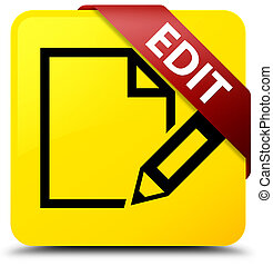 Edit yellow square button red ribbon in corner