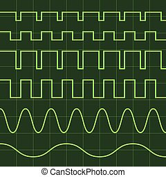 editable, écran, lignes, oscilloscope