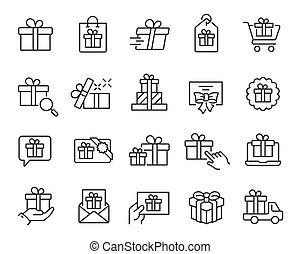 editable, アイコン, set., ベクトル, stroke., 贈り物, プレゼント