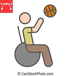 editable, ストローク, 車椅子, ベクトル, スポーツ, アウトライン, 10., バスケットボール, 満たされた, アイコン, 不具の人, 不能, グラフィックス, eps, 線, 色, 印