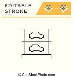 editable, ストローク, multilevel, 駐車, 線, アイコン