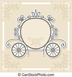 editable and scalable wedding invitation design with pumpkin carriage