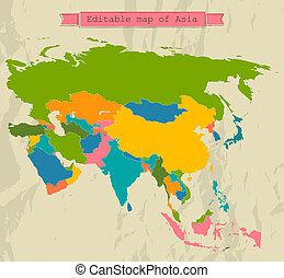 editable, asia, mapa, con, todos, countries.