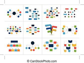 editable., elements., 案, mega, ただ, fowcharts, 色, ...