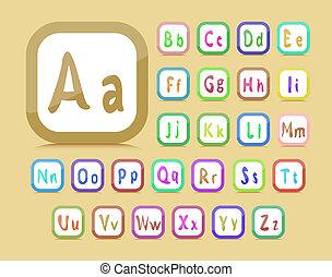 editable English alphabet