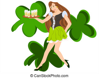 irish barmaid - editable eps vector format, female white...
