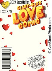 Editable Giant Size Love comic book cover with abstract ...