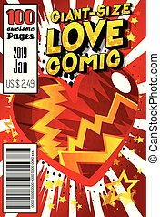 Giant-Size Love Comic Book cover - Editable Giant-Size Love ...