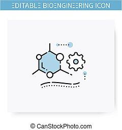 editable, linha, icon., engenharia, tecido