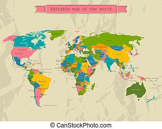editable, mapa del mundo, con, todos, countries.