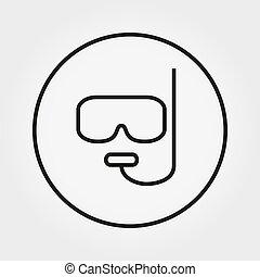 editable, masque, ligne., snorkel, diving., mince, vector., icon.
