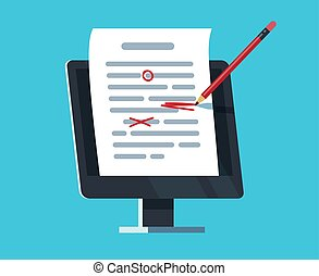 Editable online document. Computer documentation, essay writing and editing. Copywriter and text editor vector concept. Document online editing, storytelling content illustration