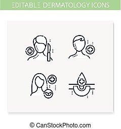 editable, set., 線, アイコン, 皮膚科学, イラスト