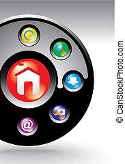 editable, site web, navegação, modelo